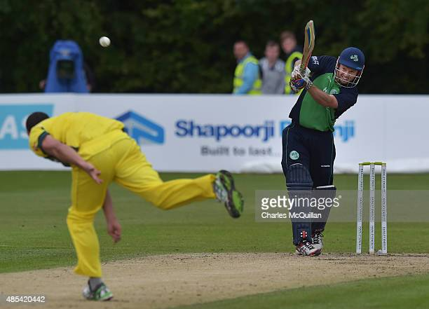 Ed Joyce of Ireland batting during the ODI cricket game between Ireland and Australia at Stormont cricket ground on August 27 2015 in Belfast...
