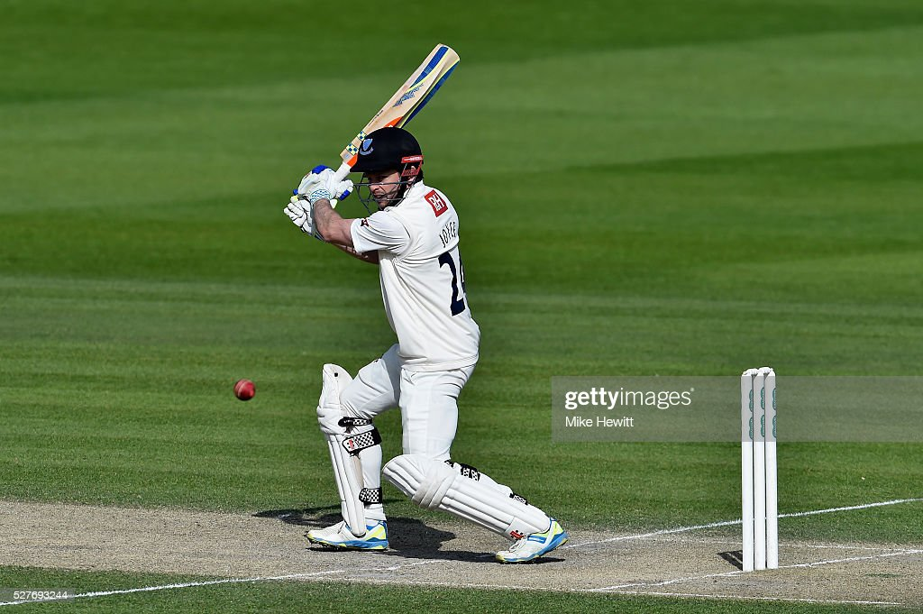 <a gi-track='captionPersonalityLinkClicked' href=/galleries/search?phrase=Ed+Joyce+-+Cricketer&family=editorial&specificpeople=2136782 ng-click='$event.stopPropagation()'>Ed Joyce</a> of Sussex cuts for four during the Specsavers County Championship Division Two match between Sussex and Leicestershire on May 03, 2016 in Hove, England.