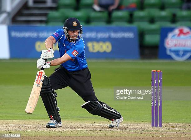 Ed Joyce of Sussex hits out during Royal London OneDay Cup match between Kent Spitfires and Sussex Sharks at The Spitfire Ground St Lawrence on...