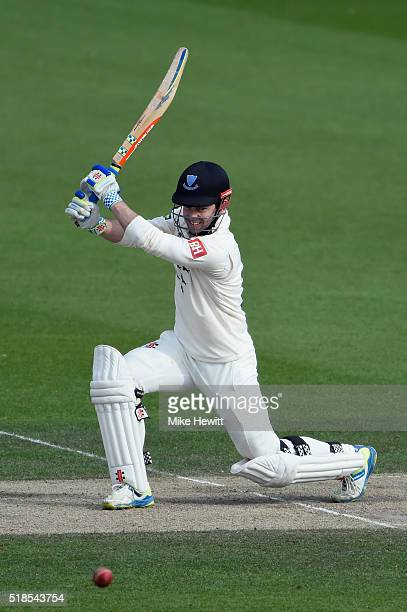 Ed Joyce of Sussex in action during a friendly match between Sussex and Hampshire at the 1st Central County Ground on April 1 2016 in Hove England