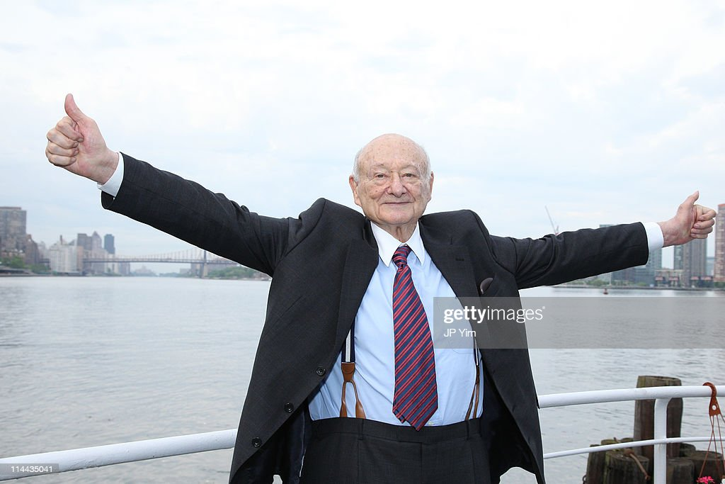 <a gi-track='captionPersonalityLinkClicked' href=/galleries/search?phrase=Ed+Koch&family=editorial&specificpeople=214740 ng-click='$event.stopPropagation()'>Ed Koch</a> celebrates at the renaming of the Queensboro Bridge in his honor at The Water Club Restaurant on May 19, 2011 in New York City.