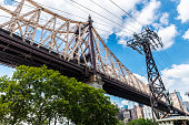Low angle view of the Ed Koch Queensboro Bridge and a tower of tramway, also known as the 59th Street Bridge, seen from Roosevelt Island with the Manhattan skyline in New York City, USA