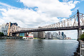 View of the Ed Koch Queensboro Bridge, also known as the 59th Street Bridge, seen from Roosevelt Island with the Manhattan skyline in New York City, USA