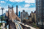 View of the Ed Koch Queensboro Bridge, also known as the 59th Street Bridge, with traffic in Manhattan, New York City, USA