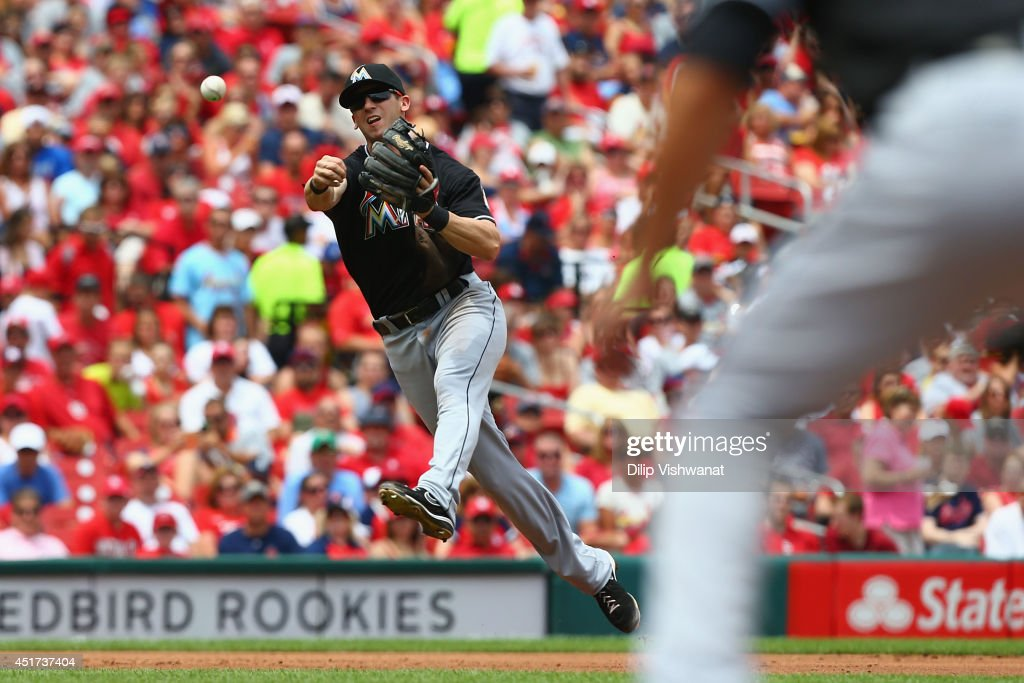 Ed Lucas #59 of the Miami Marlins attempts to throw a runner out at first base in the second inning against the St. Louis Cardinals at Busch Stadium on July 5, 2014 in St. Louis, Missouri.