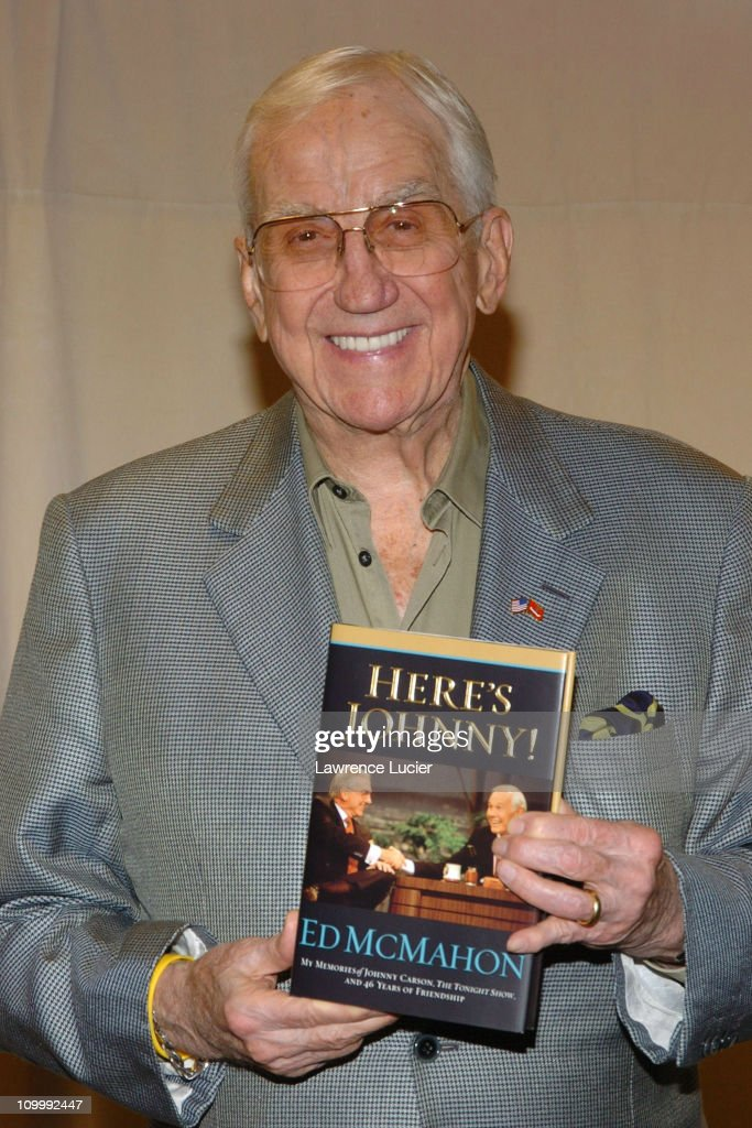 <a gi-track='captionPersonalityLinkClicked' href=/galleries/search?phrase=Ed+McMahon&family=editorial&specificpeople=216392 ng-click='$event.stopPropagation()'>Ed McMahon</a> during <a gi-track='captionPersonalityLinkClicked' href=/galleries/search?phrase=Ed+McMahon&family=editorial&specificpeople=216392 ng-click='$event.stopPropagation()'>Ed McMahon</a> Signs His Book Here's Johnny at the Ed Sullivan Theater in New York City - October 18, 2005 at Ed Sullivan Theater in New York City, New York, United States.