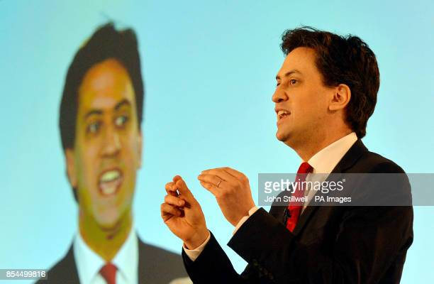 Ed Miliband addresses delegates at the ExCel Centre in Docklands in east London during a special conference on reforms to the Labour Party