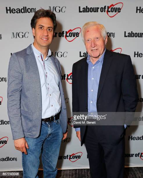 Ed Miliband and David Dimbleby attend the press night after party for 'Labour Of Love' at The National Cafe on October 3 2017 in London England