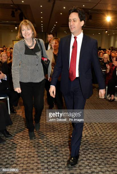 Ed Miliband arrives with Harriet Harman before he addressed delegates at the ExCel Centre in Docklands in east London during a special conference on...
