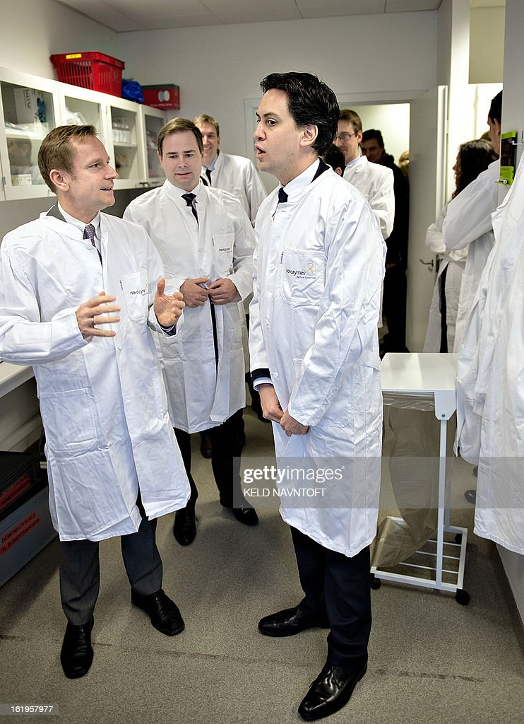 Ed Miliband, leader of the British Labour Party (L), Danish Minister for European Affairs Nikolai Wammen (C) and Douglas Alexander, Shadow Secretary of State for Foreign and Commonwealth Affairs (R) visit the Danish biotech company Novozymes North of Copenhagen, on February 18, 2013.