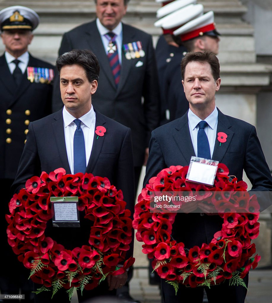 Ed Miliband, leader of the Labour Party, and Nick Clegg, leader of the Liberal Democrats, prepare to lay wreaths on the Cenotaph during a commemorative ceremony marking the centenary of the Gallipoli campaign on April 25, 2015 in London, England. The Gallipoli land campaign, in which a combined Allied force of British, French, Australian, New Zealand and Indian troops sought to occupy the Gallipoli peninsula and the strategic Dardanelles strait during World War I, began on April 25, 1915 against Turkish forces of the Ottoman Empire. The Allies, unable to advance more than a few kilometers, withdrew after eight months. The campaign saw approximately 45,000 Allied troops killed and up to 200,000 wounded, the Ottomans approximately 85,000 killed and 160,000 wounded.