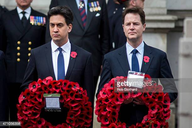 Ed Miliband leader of the Labour Party and Nick Clegg leader of the Liberal Democrats prepare to lay wreaths on the Cenotaph during a commemorative...