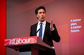 Ed Miliband leader of the Labour Party delivers a speech on International Development to invited guests at The Almeida Theatre on April 26 2015 in...
