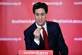 Ed Miliband leader of the Labour Party delivers a speech to activists on March 23 2015 in Clydebank Scotland Miliband told party activists that...