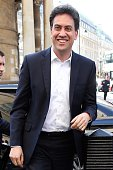 Ed Miliband seen arriving at BBC Broadcasting House on April 15 2015 in London England