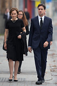 Ed Miliband the Leader of the Labour Party and his wife Justine Thornton arive at Salford Cathedral to attend the funeral of Labour MP Jim Dobbin on...