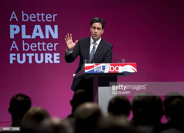 Ed Miliband the leader of the Labour Party launches his party's general election manifesto in the Old Granada Studios in Manchester Northern England...