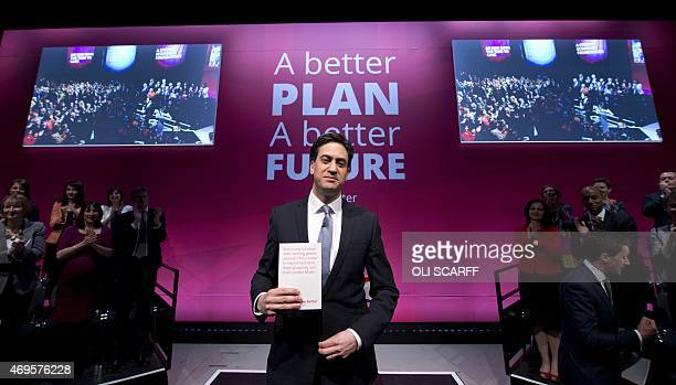 Ed Miliband the Leader of the Labour Party launches his party's general election manifesto in the Old Granada Studios in Manchester northwest England...