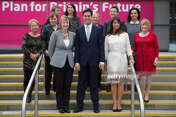 Ed Miliband the Leader of the Labour Party poses for a photograph with female members of the Shadow Cabinet Rosie Winterton Chief Whip to the Commons...