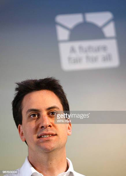 Ed Milliband outlines the Labour election manifesto to Labour activists on April 11 2010 in Walthamstow London ahead of the launch which will take...