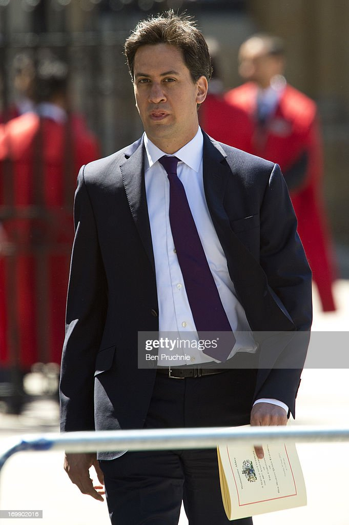 Ed Milliband sighted departing the Service Of Celebration For The 60th Anniversary Of The Queen's Coronation on June 4, 2013 in London, England.