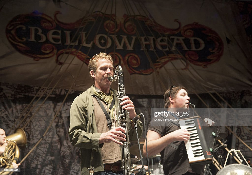 Ed Neuhauser, Brendan Kelly and John Spiers of Bellowhead performing on stage during sound check at Southampton Guildhall on November 11, 2012 in Southampton, United Kingdom.