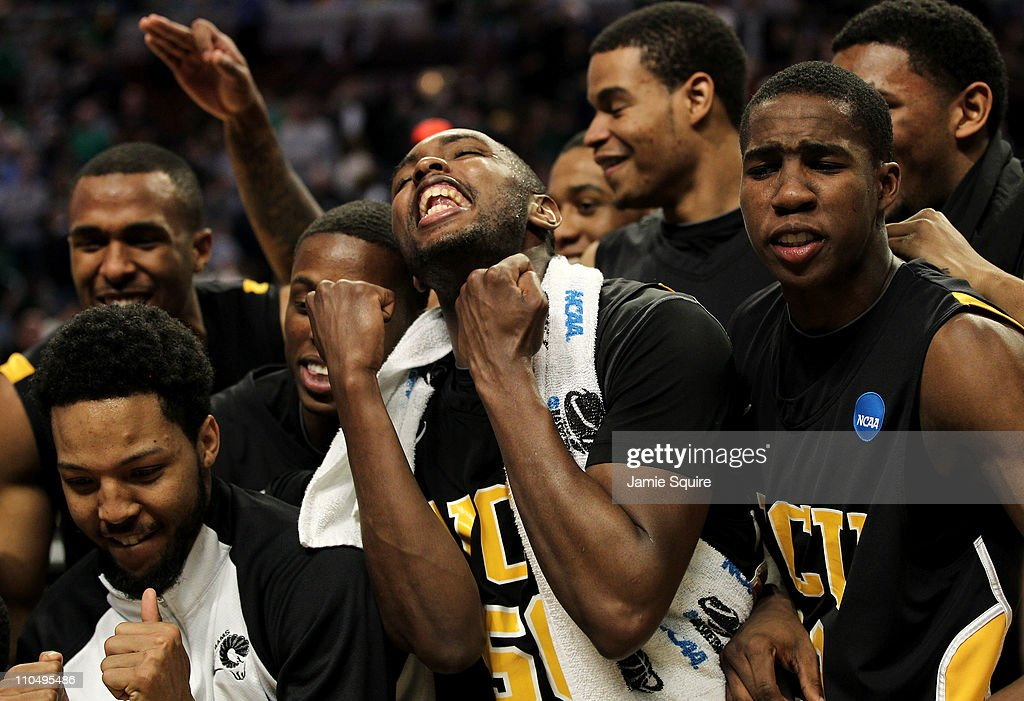 Ed Nixon Brandon Rozzell and teammates celebrate their win over the Purdue Boilermakers in the second half during the third round of the 2011 NCAA...