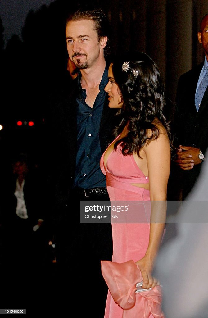 Ed Norton and Salma Hayek during 'Frida' Premiere - Arrivals at Los Angeles County Museum of Art in Los Angeles, CA, United States.