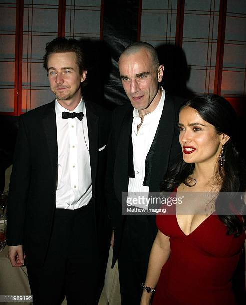 Ed Norton Daniel DayLewis and Salma Hayek during Miramax 2003 Golden Globes Party Sponsored by Glamour Magazine and Coors at Trader Vic's in Beverly...