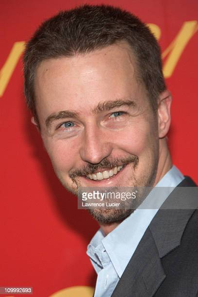 Ed Norton during Cartier and Interview Magazine Celebrate The Cartier Charity Love Bracelet at The Cartier Mansion in New York City New York United...