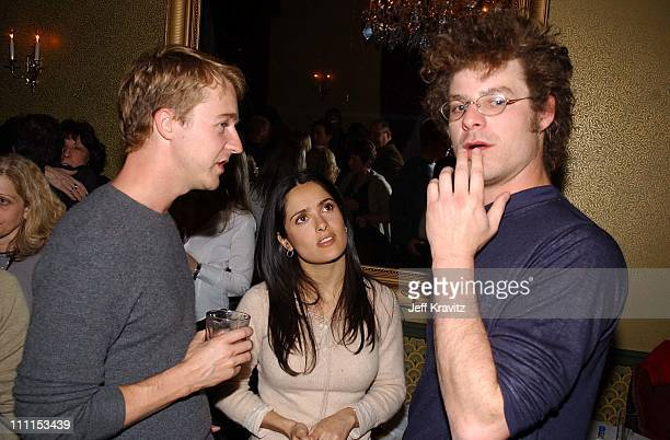 Ed Norton Salma Hayek and Matt Stone during US Comedy Arts Festival in Aspen Colorado United States