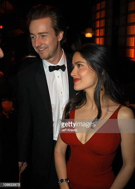 Ed Norton Salma Hayek during Miramax 2003 Golden Globes Party Sponsored by Glamour Magazine and Coors at Trader Vic's in Beverly Hills CA United...