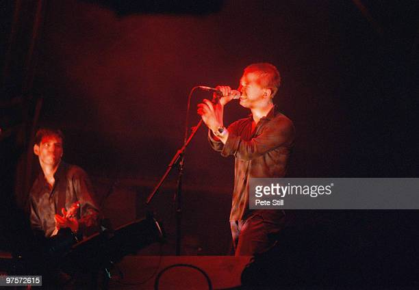 Ed O'Brien and Thom Yorke of Radiohead perform on stage at the Glastonbury Festival on June 28th 1997 in Glastonbury England