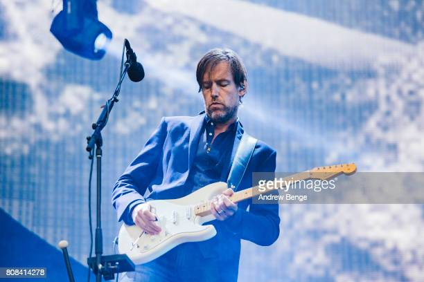 Ed O'Brien of Radiohead performs at Emirates Old Trafford on July 4 2017 in Manchester England