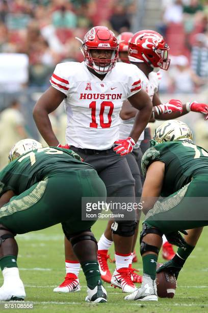 Ed Oliver of Houston stands with hands on hips as he waitsfor the offense to set up during the game between the Houston Cougars and the USF Bulls on...