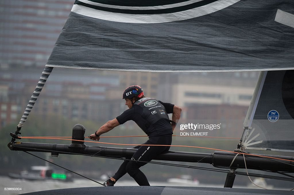 Ed Powys aboard Land Rover BAR sails during practice for the Louis Vuitton America's Cup World Series New York May 6, 2016 in New York. / AFP / DON