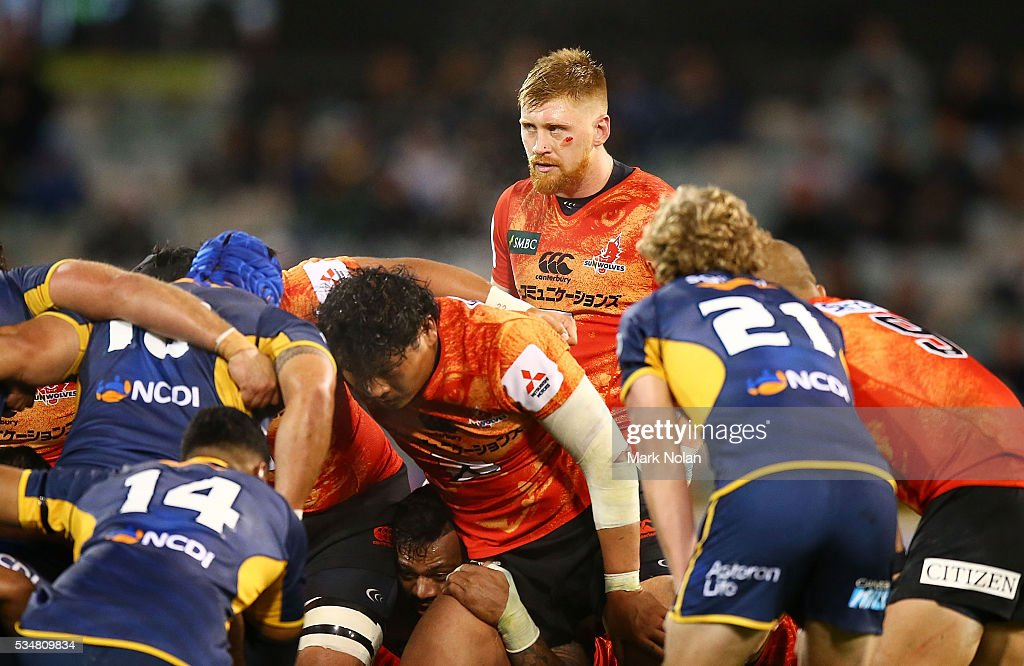 Ed Quirk of the Sunwolves watches on from the back of a scrum during the round 14 Super Rugby match between the Brumbies and the Sunwolves at GIO Stadium on May 28, 2016 in Canberra, Australia.