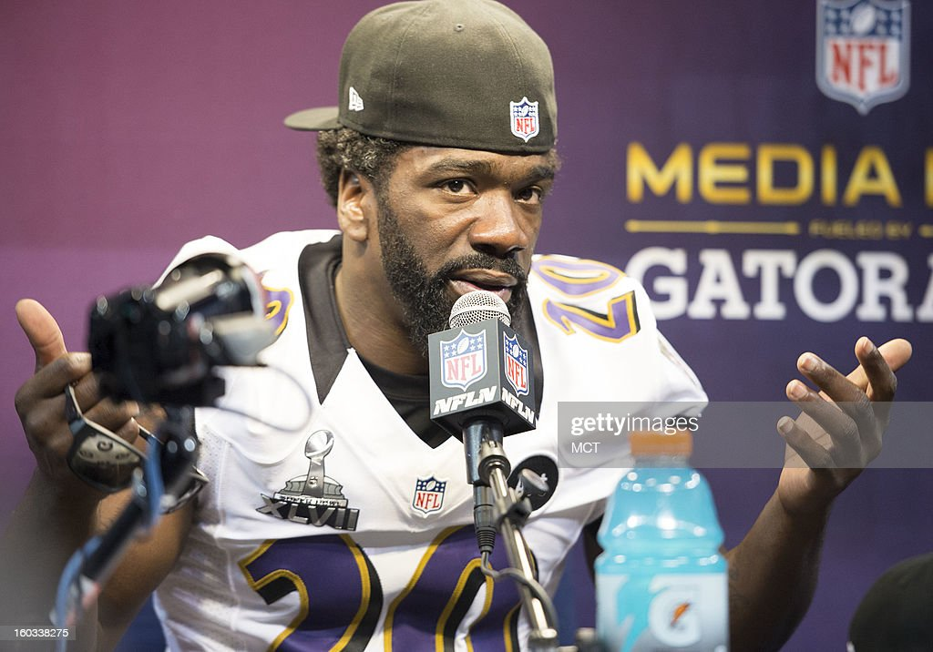 Ed Reed of the Baltimore Ravens answers questions during Super Bowl Media Day on Tuesday, January 29, 2013, in New Orleans, Louisiana.