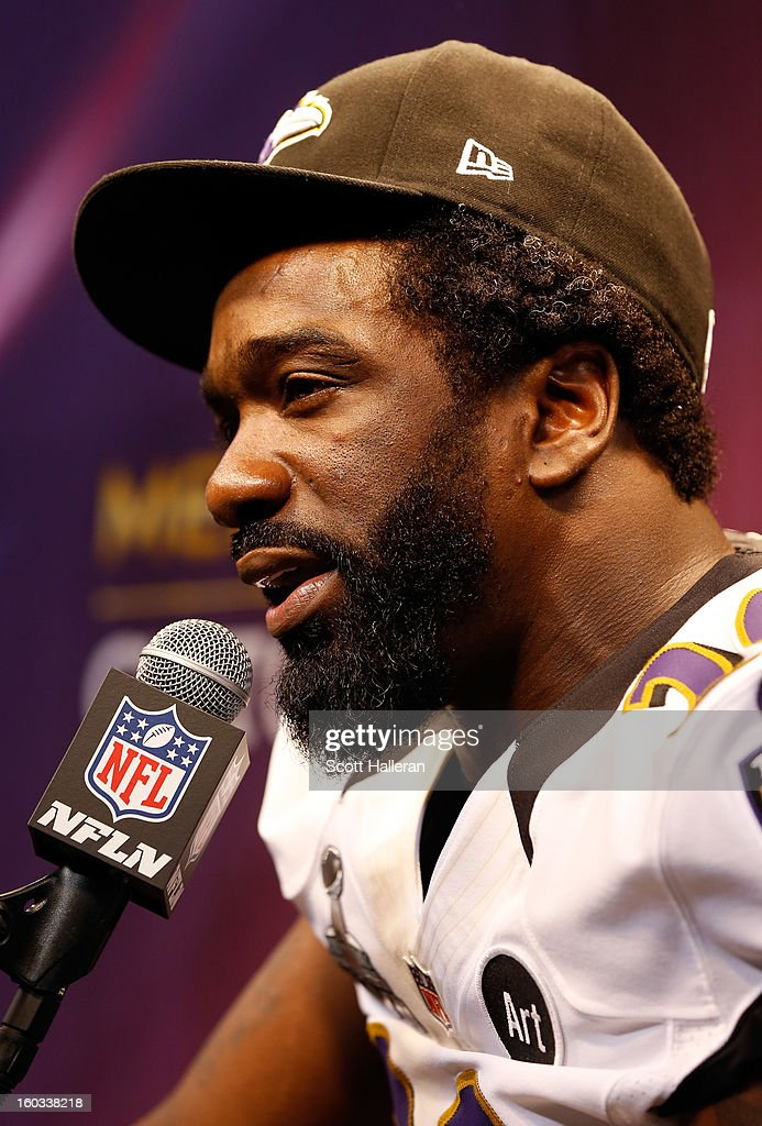 Ed Reed #20 of the Baltimore Ravens answers questions from the media during Super Bowl XLVII Media Day ahead of Super Bowl XLVII at the Mercedes-Benz Superdome on January 29, 2013 in New Orleans, Louisiana. The San Francisco 49ers will take on the Baltimore Ravens on February 3, 2013 at the Mercedes-Benz Superdome.