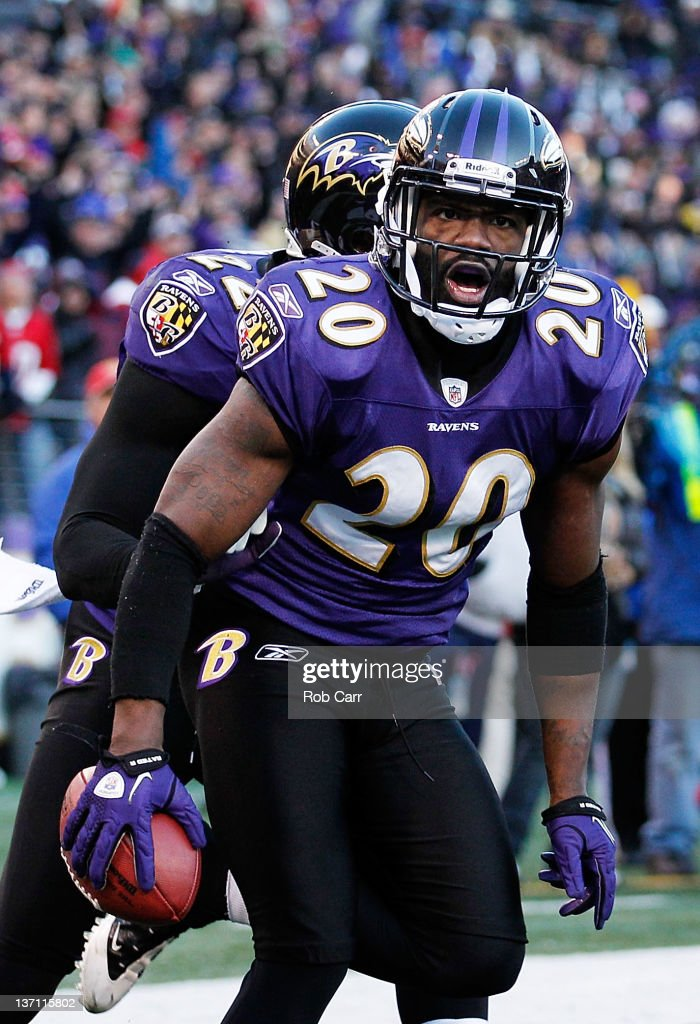 <a gi-track='captionPersonalityLinkClicked' href=/galleries/search?phrase=Ed+Reed&family=editorial&specificpeople=194933 ng-click='$event.stopPropagation()'>Ed Reed</a> #20 of the Baltimore Ravens celebrates after intercepting a Houston Texans pass during the fourth quarter of the AFC Divisional playoff game at M&T Bank Stadium on January 15, 2012 in Baltimore, Maryland. The Ravens won the game 20-13.