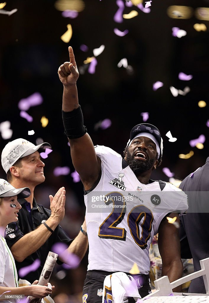 <a gi-track='captionPersonalityLinkClicked' href=/galleries/search?phrase=Ed+Reed&family=editorial&specificpeople=194933 ng-click='$event.stopPropagation()'>Ed Reed</a> #20 of the Baltimore Ravens celebrates after the Ravens won 34-31 against the San Francisco 49ers during Super Bowl XLVII at the Mercedes-Benz Superdome on February 3, 2013 in New Orleans, Louisiana.