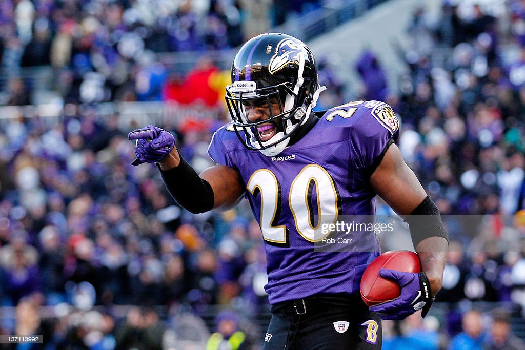 Ed Reed #20 of the Baltimore Ravens celebrates his interception against Andre Johnson #80 of the Houston Texans (not pictured) during the fourth quarter of the AFC Divisional playoff game at M&T Bank Stadium on January 15, 2012 in Baltimore, Maryland.