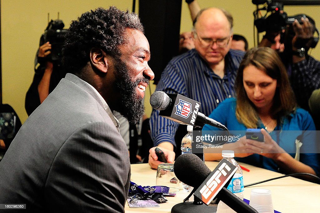 Ed Reed, safety for the Baltimore Ravens, speaks to the media during a media availability session for Super Bowl XLVII at the Hilton New Orleans Riverside on January 28, 2013 in New Orleans, Louisiana.