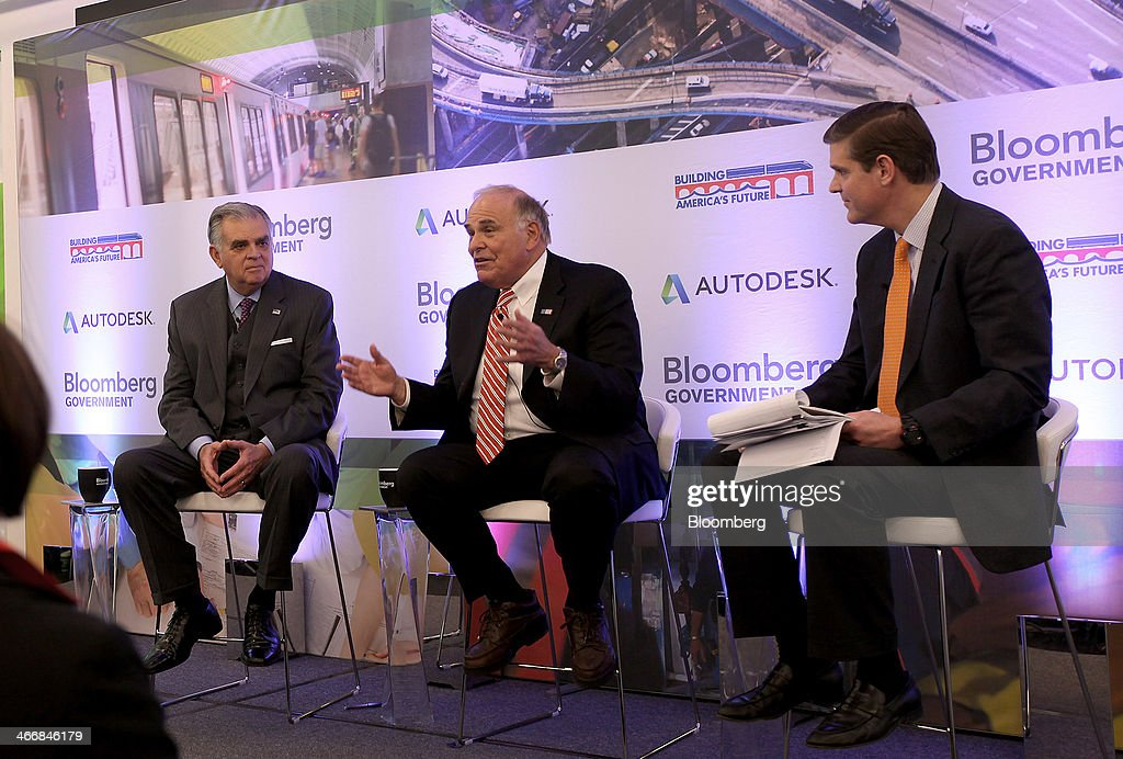 <a gi-track='captionPersonalityLinkClicked' href=/galleries/search?phrase=Ed+Rendell&family=editorial&specificpeople=2445310 ng-click='$event.stopPropagation()'>Ed Rendell</a>, former governor of Pennsylvania, center, speaks as <a gi-track='captionPersonalityLinkClicked' href=/galleries/search?phrase=Ray+LaHood&family=editorial&specificpeople=598728 ng-click='$event.stopPropagation()'>Ray LaHood</a>, former U.S. transportation secretary, left, listens at the America on the Move: Investing in U.S. Infrastructure forum sponsored by Bloomberg Government and Building America's Future, in Washington, D.C., U.S., on Tuesday, Feb. 4, 2014. The forum brings together experts to discuss the challenges of improving U.S. infrastructure in the face of tightened budgets and the declining Highway Trust Fund. Photographer: David Banks/Bloomberg via Getty Images