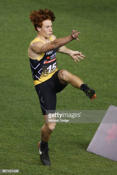 Ed Richards from Oakley Chargers kicks the ball during the AFLW Draft Combine at Etihad Stadium on October 4 2017 in Melbourne Australia