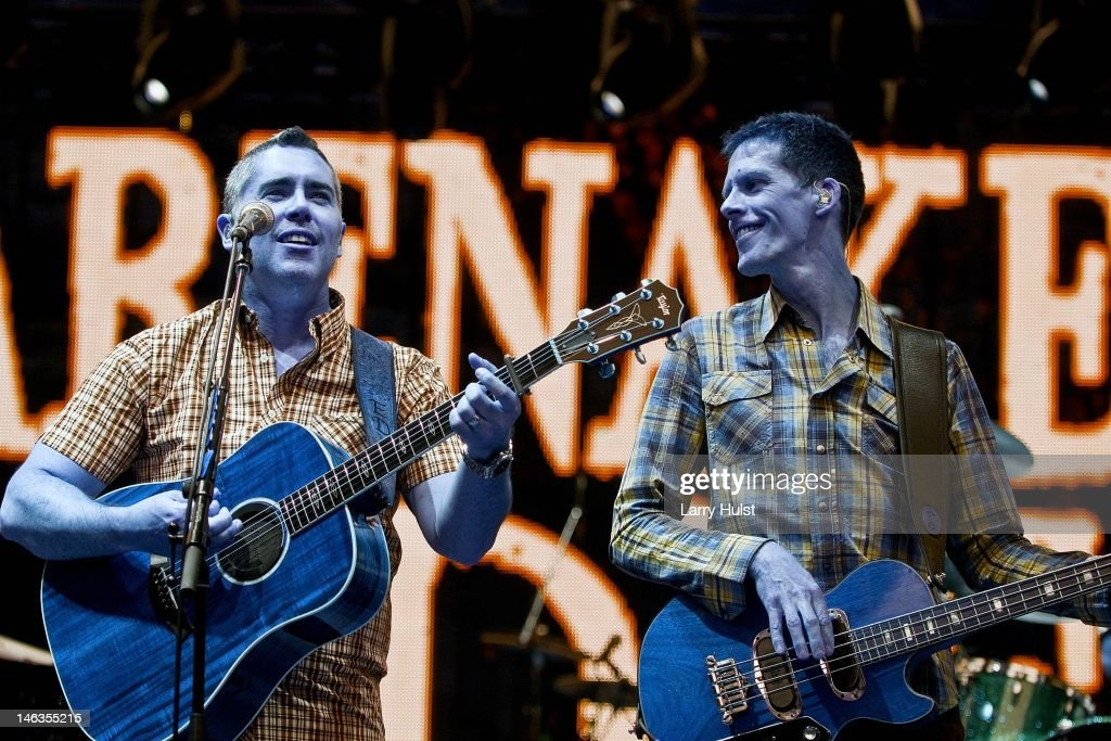 Ed Robertson and Jim Creeggan playing with 'Barenaked Ladies' ' performing at Red Rocks Amplitaheater in Morrison Colorado on June 9 2012