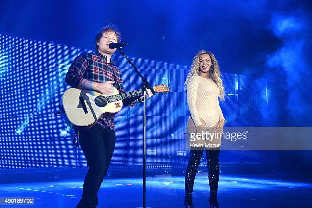 Ed Sheeran and Beyonce perform onstage during 2015 Global Citizen Festival to end extreme poverty by 2030 in Central Park on September 26 2015 in New...