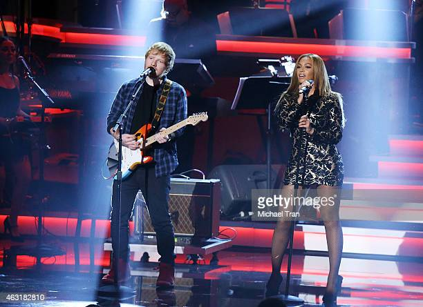 Ed Sheeran and Beyonce perform onstage during the Stevie Wonder Songs In The Key Of Life An AllStar GRAMMY Salute held at Nokia Theatre LA Live on...