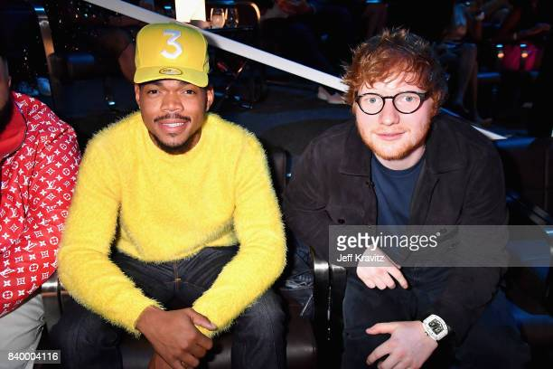 Ed Sheeran and Chance The Rapper pose together during the 2017 MTV Video Music Awards at The Forum on August 27 2017 in Inglewood California