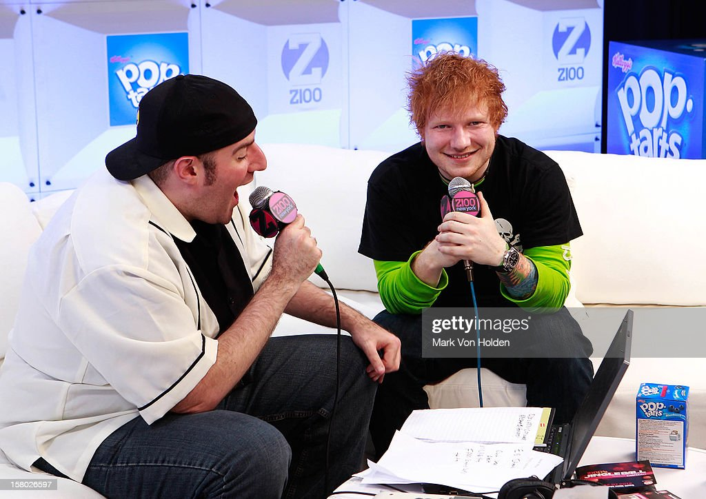 <a gi-track='captionPersonalityLinkClicked' href=/galleries/search?phrase=Ed+Sheeran&family=editorial&specificpeople=7604356 ng-click='$event.stopPropagation()'>Ed Sheeran</a>, and Dj JJ speak at the Z100 Artist Gift Lounge Presented by Pop Tarts at Z100's Jingle Ball 2012 at Madison Square Garden on December 7, 2012 in New York City.